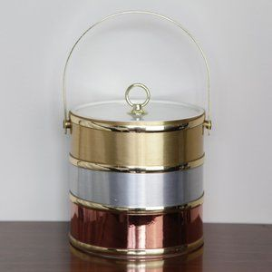 Vintage Gold Silver Copper Banded Ice Bucket